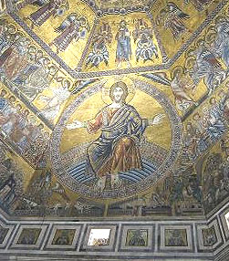 Gold Mosaic in the Baptistry Florence featuring Christ the Judge.